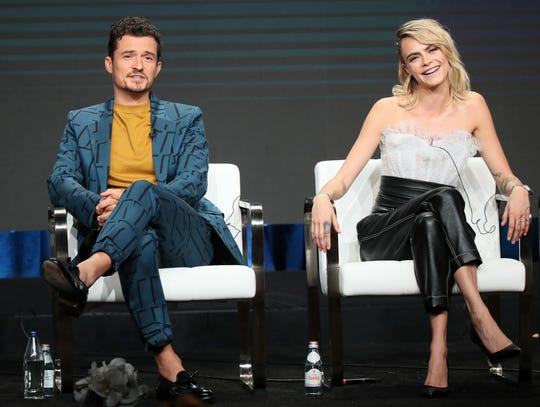 "Orlando Bloom stars on Amazon fantasy series ""Carnival Row"" with Cara Delevingne."
