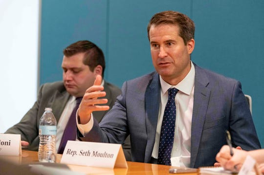 Democratic presidential candidate Seth Moulton speaks to the USA TODAY Editorial Board on July 10, 2019.