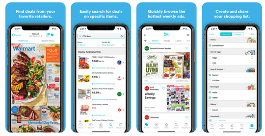 The popular app Flipp collects your local circulars, highlights deals and coupons, and lets you create a sharable shopping list.