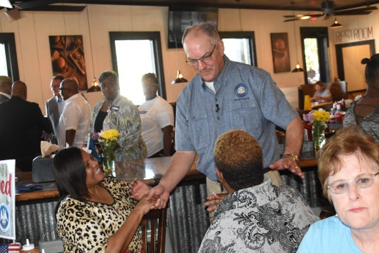 Louisiana Gov. John Bel Edwards and his wife Donna Edwards made a campaign stop Sunday, July 28, 2019 at Outlaw's BBQ in Alexandria to meet with supporters. Edwards is running for a second term against Republicans U.S. Sen. Ralph Abraham and businessman Eddie Rispone of Baton Rouge.