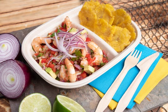 Shrimp ceviche with plantains from Santo Ceviche in Highlands.