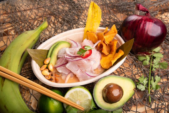 Classic ceviche with fresh fish, red onions, plantain chips, corn and avocado from Santo Ceviche in Highlands.