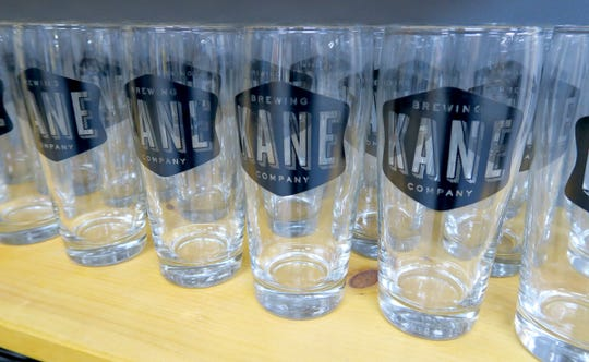 "Beer glasses for sale at ""Kane Brewing Company"" in Ocean Township Monday, July 29, 2019."