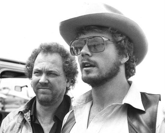 John Schneider with manager Jack Brumly, of Nashville, in Abilene in an undated photo.