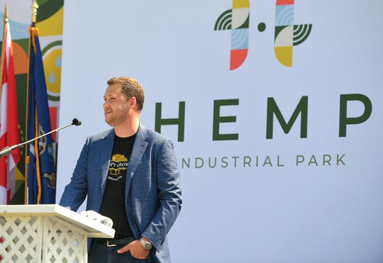 Canopy Growth Corp. President Rade Kovacevic speaks at the unveiling of Hemp Industrial Park in Kirkwood on July 29, 2019.