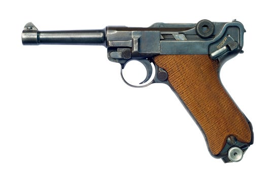 A German (Pistole Parabellum 1908) Luger P08 pistol. Although the Luger pistol was first introduced in 7.65x22mm Parabellum, it is notable for being the pistol for which the 9x19mm Parabellum (also known as the 9mm Luger) cartridge was developed.