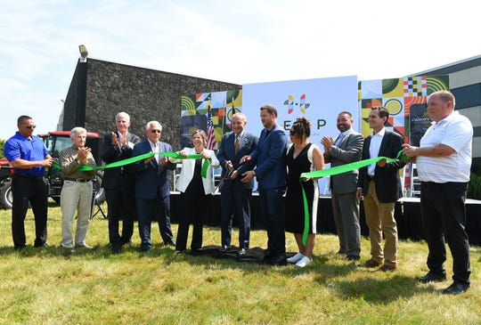 Senator Chuck Schumer cuts the ribbon as Canopy Growth Corporation unveiled its Hemp Industrial Park in Kirkwood, Broome County, on Monday, July 29, 2019.
