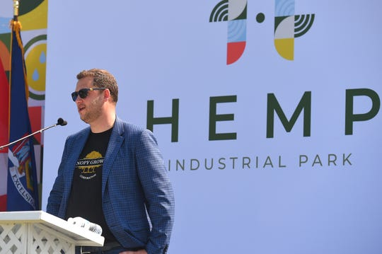 Canopy Growth Corporation's president Rade Kovacevic speaks at the company unveiled Hemp Industrial Park in Kirkwood, Broome County, on Monday, July 29, 2019.