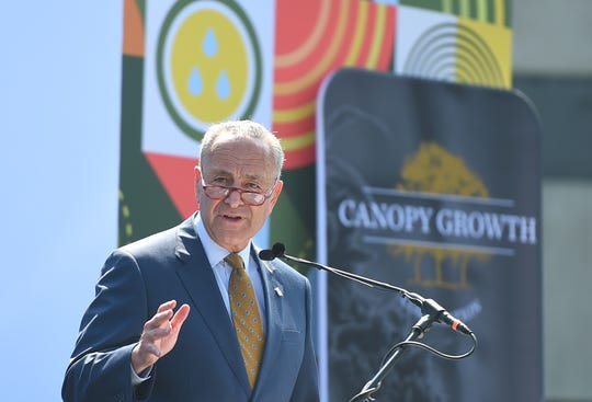 Senate Minority Leader Chuck Schumer addresses the crowd as Canopy Growth Corporation unveiled its Hemp Industrial Park in Kirkwood, Broome County, on Monday, July 29, 2019.