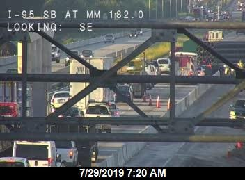 Highway officials said there are injuries and a roadblock in a crash on I-95 southbound near US Highway 192.