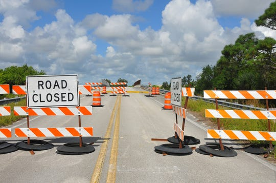 The hurricane-damaged Sea Ray Drive Bridge over Sykes Creek on Merritt Island has been closed since September 2017.