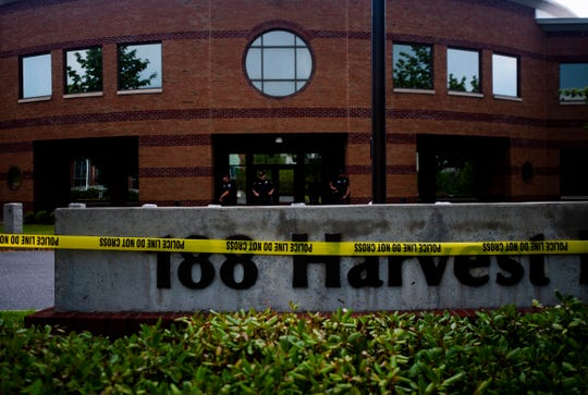 Police taped off the Williston U.S. Immigration and Customs Enforcement  office on Sunday, July 28, 2019, to prevent protestors from entering federal property.