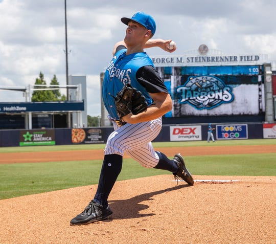 Shawn Semple, seen pitching for the Tampa Tarpons, the New York Yankees' High-A affiliate, on July 21, was recently promoted to the Trenton Thunder, the organization's Double-A squad. Semple is a Paul VI graduate.