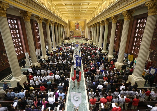 The inside of the Cathedral of  St. Peter in Chains Downtown during a 2013 Catholic Schools Week Mass shows the beauty of the interior of the cathedral.