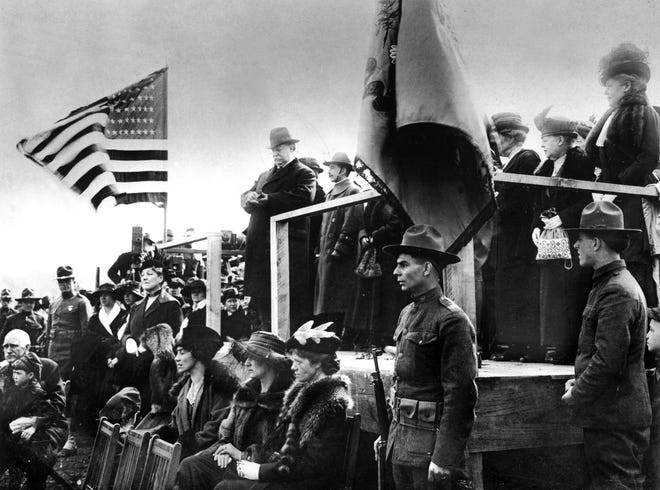 NOVEMBER 4, 1908: William Howard Taft, the only Cincinnatian to occupy the White House and a Woodward graduate, addresses a hometown crowd at the laying of the cornerstone for a new Woodward High School.