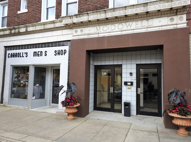 The McDowell Building at 539 Main St. features four retail spaces and 14 apartments. It's currently undergoing renovations by owners Amy and Kirby Hasseman made possible through a historic preservation tax credit from the state.
