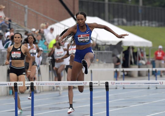 Dalilah Muhammad wins the women's 400-meter hurdles in a world record 52.20 during the USATF Championships at Drake Stadium on Sunday, July 28, 2019, in Des Moines.