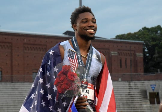 Noah Lyles poses after winning the 200-meter dash in 19.78 seconds during the USATF Championships at Drake Stadium on Sunday, July 28, 2019, in Des Moines.