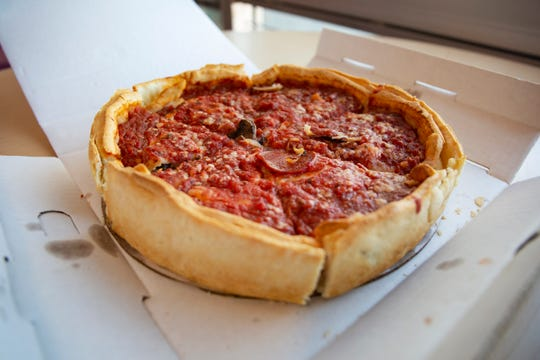 Giordano's Chicago Classic: Deep-dish with pepperoni, mushrooms, green peppers, and onions.