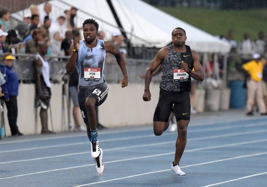 Noah Lyles (left) defeats Christian Coleman to win the 200-meter dash, 19.78 seconds to Coleman's 20.02 seconds, during the USATF Championships at Drake Stadium on Sunday, July 28, 2019, in Des Moines.