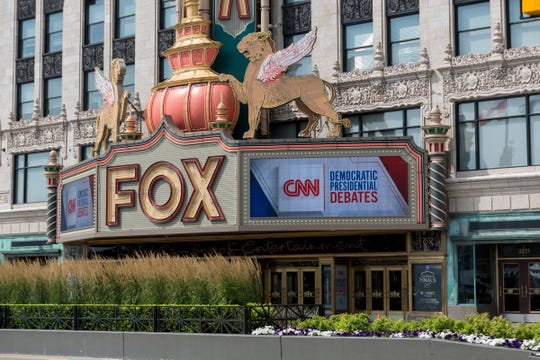 The marquee on the Fox Theatre announces the Democratic presidential candidates' debate in Detroit, Mich., Sunday, July 28, 2019.