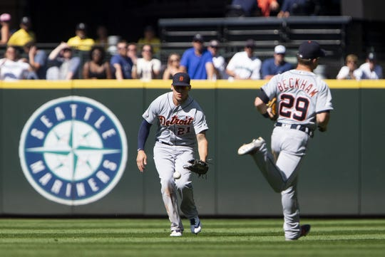 Tigers center fielder JaCoby Jones fields the walk-off hit by Mariners shortstop  J.P. Crawford in the 10th inning of the Tigers' 3-2 loss on Sunday, July 28, 2019, in Seattle.