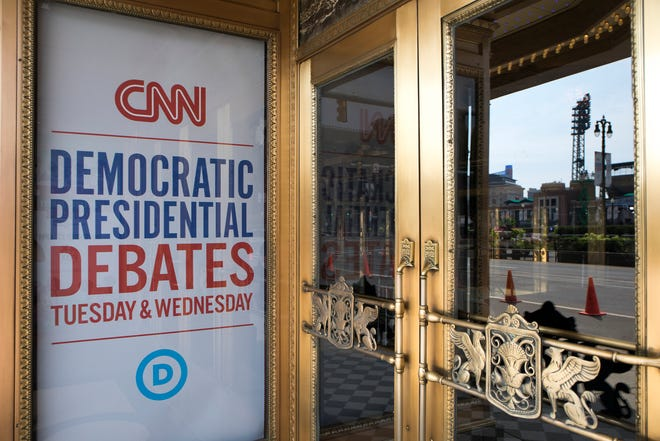 Signage announces the Democratic presidential candidates' debate at the Fox Theatre in Detroit, Mich., Sunday, July 28, 2019.