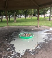 A gazebo at Roseville's Veterans Memorial Park was covered with glue, paint and bottles July 28, 2019 after a visiting group became upset with park staff.