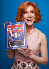 """This July 16, 2019 photo shows Kathy Griffin posing for a portrait in New York to promote her film """"Kathy Griffin: A Hell of a Story,"""" in select theaters for one day only on July 31."""