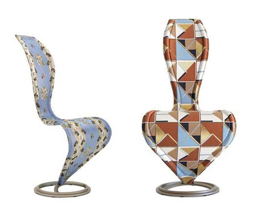 Cappellini has considered the sinuously curved S-chair, designed by Tom Dixon, which it has produced for nearly 30 years -- an icon with a disruptive personality. The latest iteration brings a new upholstery duo; Brocade (left), inspired from an 18th-century original drawing, and Decor (right). Fabric is by Dimore Studio, and the latter is reminiscent of its Corrispondenza, a geometric tile designed two years ago for Ceramica Bardelli.