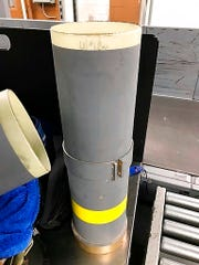 In this July 2019 photo released by the The Transportation Security Administration, a section of a missile launcher is seen at Baltimore/Washington International Thurgood Marshall Airport near Baltimore.