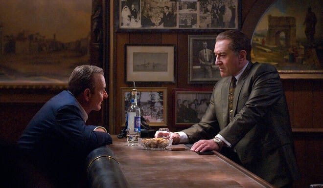 "Joe Pesci, left, and Robert De Niro in a scene from ""The Irishman."""