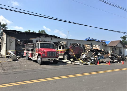 Flames heavily damaged the Lawrenceville Fire Department headquarters Saturday night.