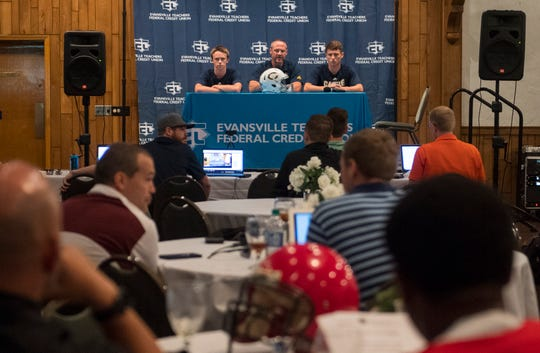 Castle's Head Coach Doug Hurt, center, answers questions about the upcoming season during High School Football Media Day 2019 Monday, July 29, 2019.