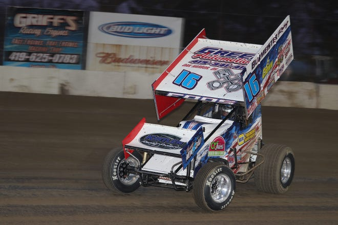 DJ Foos wins Saturday at Fremont Speedway.