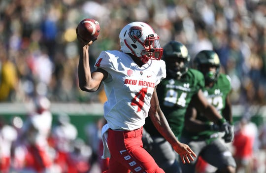 New Mexico quarterback Sheriron Jones passes against Colorado State last season.