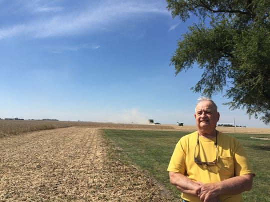 Steve Hanover, pictured on his farm in Illinois, still lives in the house his parents built on SW 53rd Street.