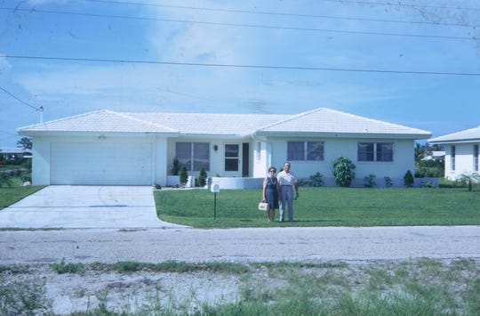 Clarence and Ruth Hanover  proudly pose in front of their Cape Coral home circa 1970.