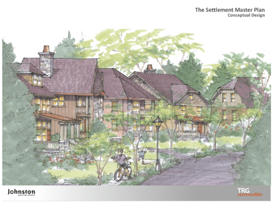 A rendering included with the concept plan for The Settlement, a mixed use development planned on 80 acres east of Simpsonville, which the city has voted to annex.