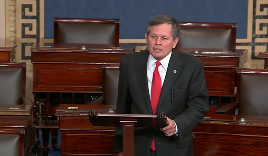 Sen. Steve Daines, R-Mont., discusses his resolution condemning Socialism Monday in the Senate.