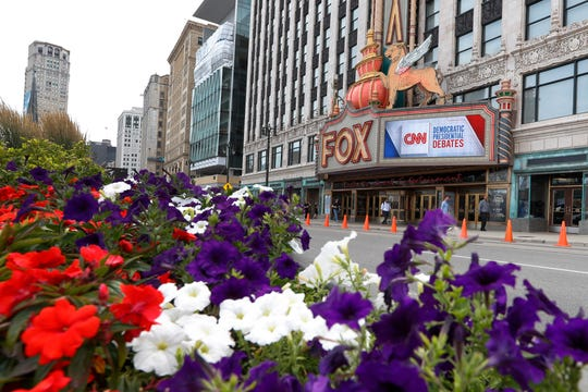 The Fox Theatre displays signs for the Democratic presidential debates in Detroit, Monday. The second scheduled debate will be hosted by CNN on July 30 and 31