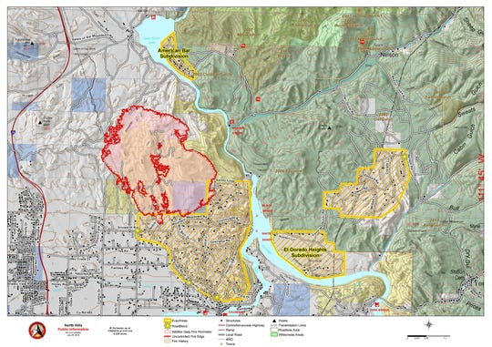 Map of North Hills Fire burning north of Helena just west of the Missouri River between Upper Holter and Hauser Lakes, updated July 29, 2019.