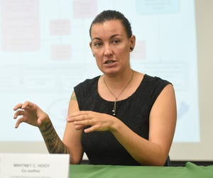 Whitney C. Hoot, Coral Reef Resilience Coordinator/Guam Bureau of Statistics and Plans biologist, during a press conference at the University of Guam Marine Laboratory Lecture Hall in Mangilao, July 29, 2019.