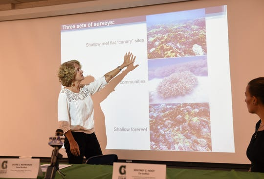 Laurie J. Raymundo, University of Guam Marine Laboratory director/Marine Biology professor, discusses successive bleaching events during a press conference at the UOG Marine Laboratory Lecture Hall in Mangilao, July 29, 2019.