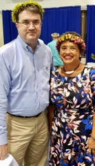 Gov. Lou Leon Guerrero meets with U.S. Department of Veterans Affairs Robert Wilkie in Pohnpei, during the inauguration of Federated States of Micronesia President David Panuelo.