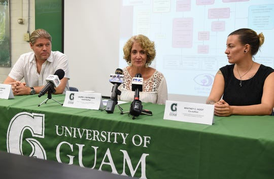 "David R. Burdick, University of Guam Marine Laboratory research associate, Laurie J. Raymundo, UOG Marine Laboratory director/Marine Biology professor, center, and Whitney C. Hoot, Coral Reef Resilience Coordinator/Guam Bureau of Statistics and Plans biologist, answer questions for their  online study, ""Successive bleaching events cause mass mortality in Guam, Micronesia,"" discuss their findings during a press conference at the UOG Marine Laboratory Lecture Hall in Mangilao, July 29, 2019."