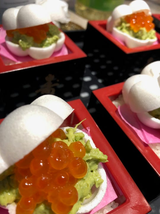 "Little sandwich-like nibbles called ""monaka"" are usually sweet in Japan, but HINATA's may be savory with avocado and caviar between crisp mochi shells. HINATA Japanese Restaurant is scheduled to open in November 2019 in Downtown Indianapolis."