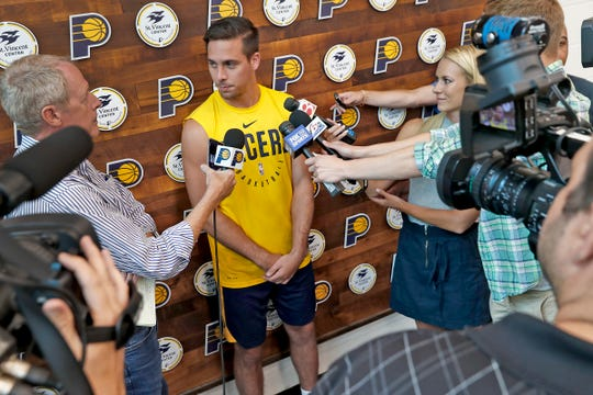 Indiana Pacers signee T.J. McConnell speaks to the press at the Indiana Pacers Training Facility at St. Vincent Center, Monday, July 29, 2019.