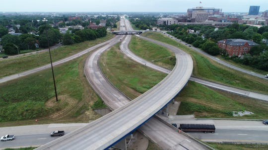 A vehicle-free I-70 is seen from above near the South Split Monday. I-70 is scheduled to remain closed until Aug. 5.