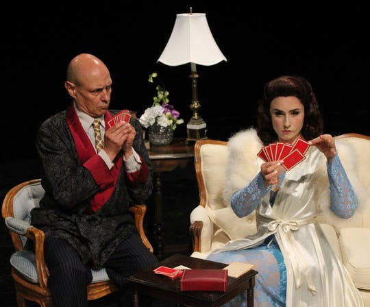 Bill Coughlin as Harry Brock and Briana Gantsweg as Billie Dawn star in Cortland Repertory Theatre's production of the American comedy classic 'Born Yesterday' by Garson Kanin, running July 31-Aug. 10.